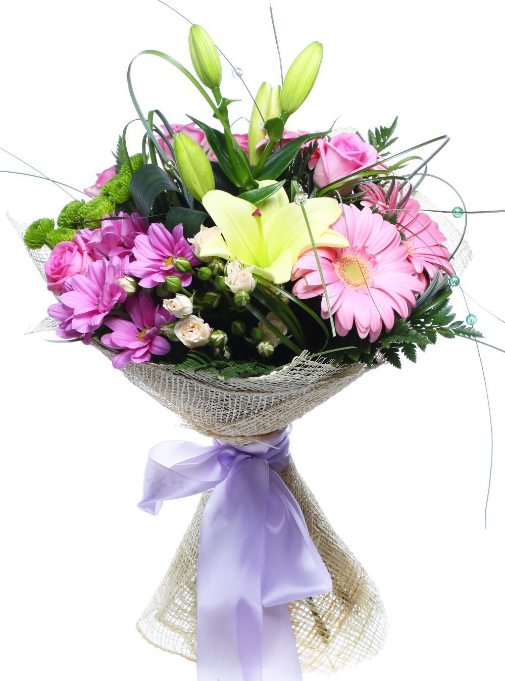 Подарочный букет из лилии роз и хризантем